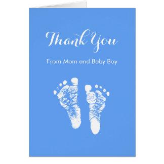 Baby Boy Thank You Cute Blue Newborn Footprints Card