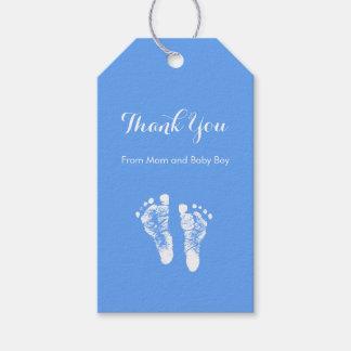 Baby Boy Thank You Cute Blue Newborn Footprints Gift Tags