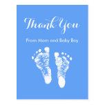 Baby Boy Thank You Cute Blue Newborn Footprints Postcard