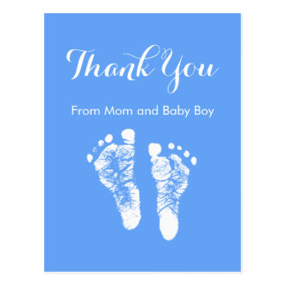 Baby Boy Thank You Cute Blue Newborn Footprints Postcard