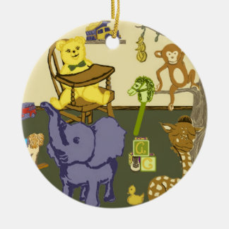 baby boy themed art on round ornament
