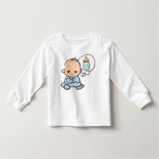 Baby boy thinking of milk illustration toddler t-shirt