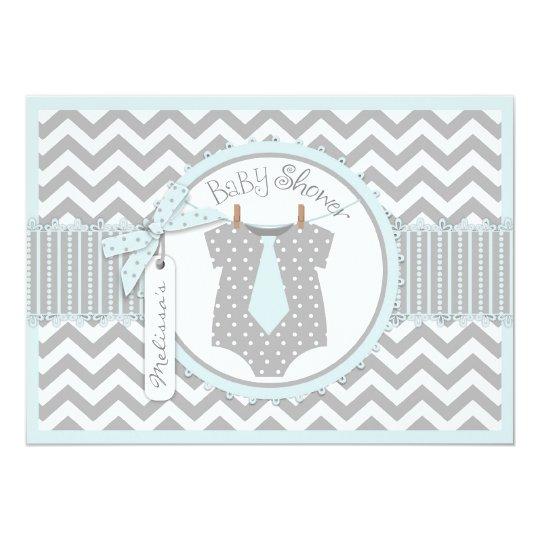 Baby Boy Tie Chevron Print Baby Shower Card