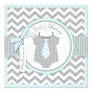 Baby Boy Tie Chevron Print Baby Shower 5.25x5.25 Square Paper Invitation Card