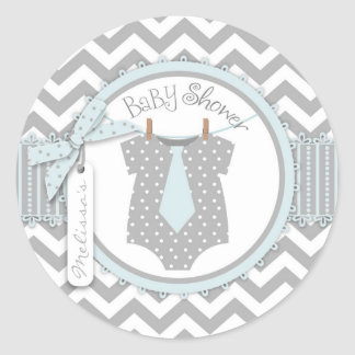 Baby Boy Tie Chevron Print Baby Shower Classic Round Sticker