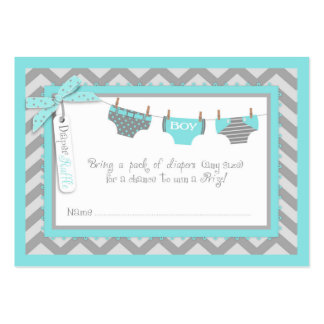 Baby Boy Tie Diaper Raffle Ticket Large Business Cards (Pack Of 100)