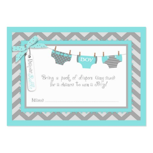 Baby Boy Tie Diaper Raffle Ticket Large Business Cards (Pack Of 100 ...
