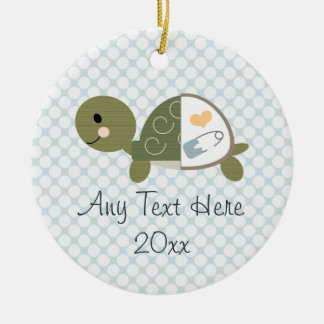 Baby Boy Turtle Ornament Blue Diaper Pin