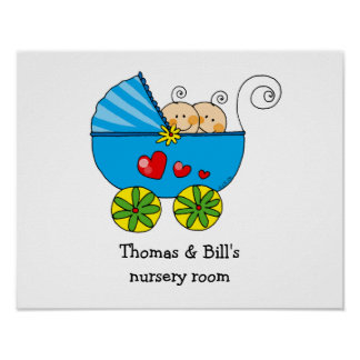 Baby boy twins nursery room poster