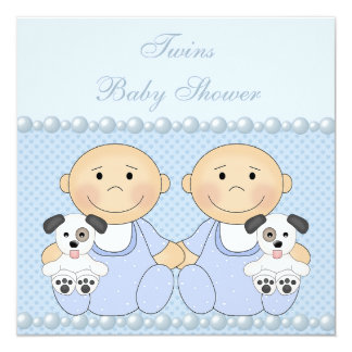 Baby Boy Twins & Puppies Blue Baby Shower Card