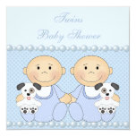 """Baby Boy Twins & Puppies Blue Baby Shower 5.25"""" Square Invitation Card"""