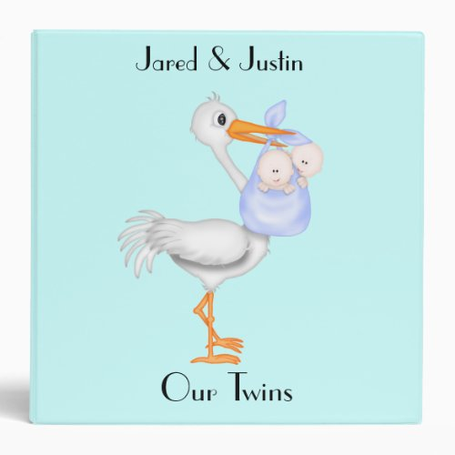 Baby Boy Twins Stork Photo Album 3 Ring Binder