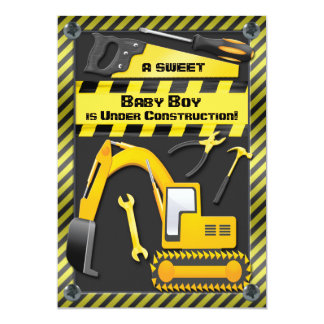 Baby Boy Under Construction Shower 5x7 Paper Invitation Card