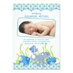 Baby Boy Under the Sea Cartoon Birth Announcement