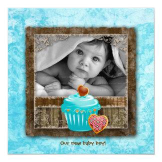 Baby Boy Valentine Announcement Cupcake Blue