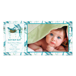 Baby Boy Vintage Baby Bird Picture Announcement Photo Card