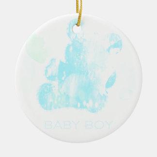 Baby boy, Watercolor Teddy Bear Ceramic Ornament