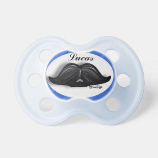 Baby Boy Wax Candy Moustache Blue Stripes Pattern Pacifier