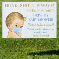 Baby Boy Wearing Face Mask Drive By Baby Shower Sign