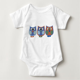 Baby Boy White Bodysuit With Cute Owls Design