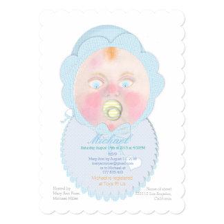 Baby boy with bib, Custom Baby Shower Invitation. Card