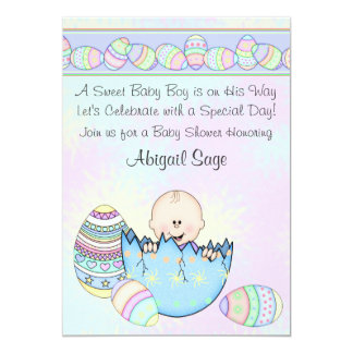 Baby Boy with Easter Eggs Baby Shower Invitation