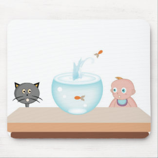 Baby boy with its pets, the cat and the fish mouse pad