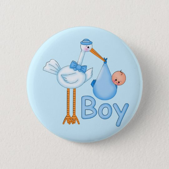 Baby Boy with Stork Button