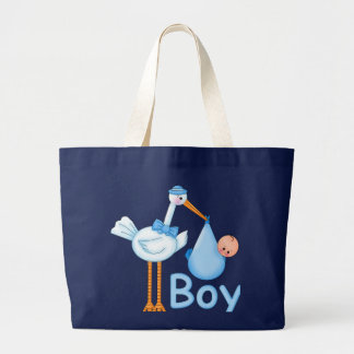 Baby Boy with Stork Large Tote Bag