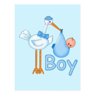 Baby Boy with Stork Postcards