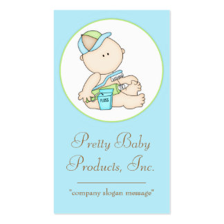 Baby Boy with Toothbrush Floss Business Card