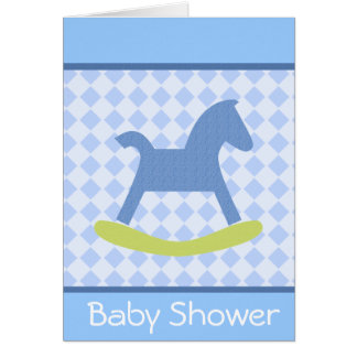 Baby Boy Yellow and Blue Rocking Horse Card