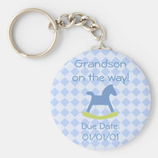 Baby Boy Yellow and Blue Rocking Horse Keychain