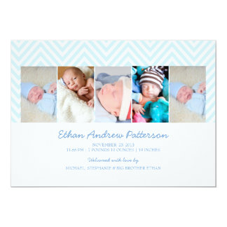 Baby Boy Zigzag Blue 5 Photo Birth Announcement