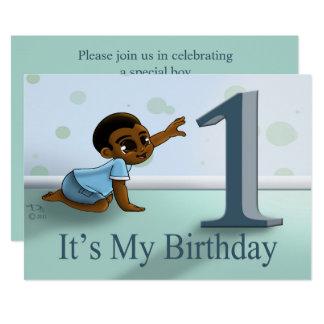 """Baby Boy's 1st Birthday Invitation"" 7"" x 5"" Card"