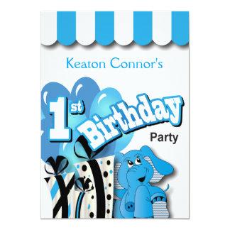 Baby Boy's 1st Birthday Party Card