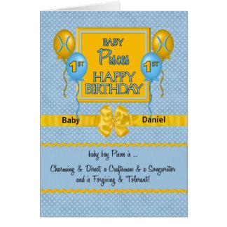 Baby Boy's 1st Birthday Pisces Zodiac Greeting Cards