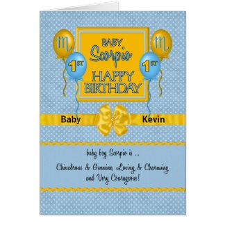 Baby Boy's 1st Birthday Scorpio Zodiac Card