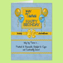 Baby Boy's 1st Birthday Taurus Zodiac Card