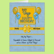 Baby Boy's 1st Birthday Virgo Zodiac Card