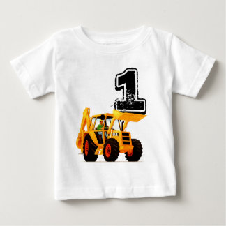 Baby Boys 1st Birthday Yellow Digger Construction Baby T-Shirt