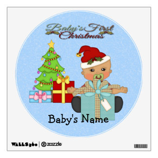 Baby Boy's 1st Christmas Round Wall Decal