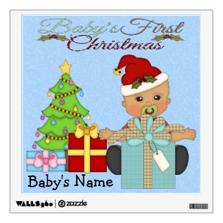 Baby Boy's 1st Christmas Square Wall Decal