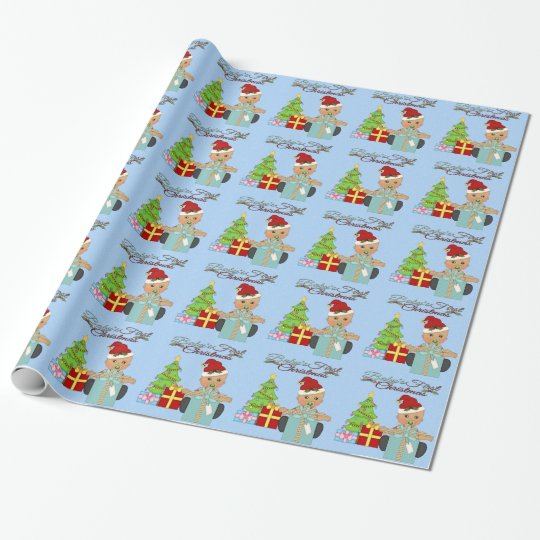 Baby Boy S 1st Christmas Wrapping Paper Zazzle Com