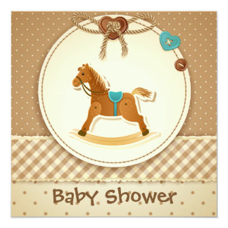 Baby Boy's Baby Shower Invitation Rocking Horse