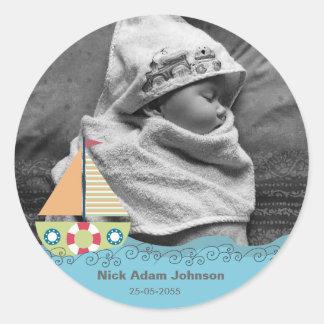 Baby Boys Birth Name & Photo Label Sticker