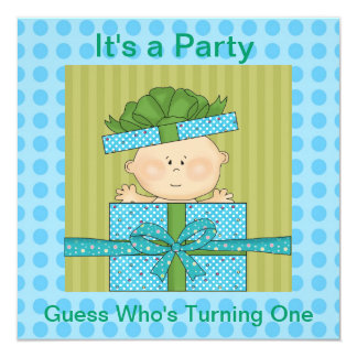 Baby Boys  Birthday Party Invitation or Announceme
