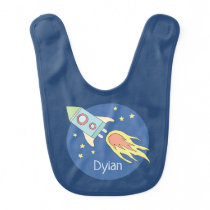 Baby Boys Colorful Rocket Ship Space and Name Baby Bib