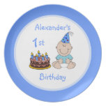 Baby Boy's First Birthday Cake Plates