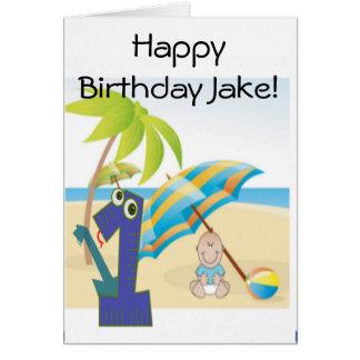Baby Boy's First Birthday Greeting Card